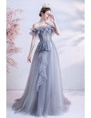 Ruffled Grey Tulle Flowy Long Prom Dress with Bling Off Shoulder