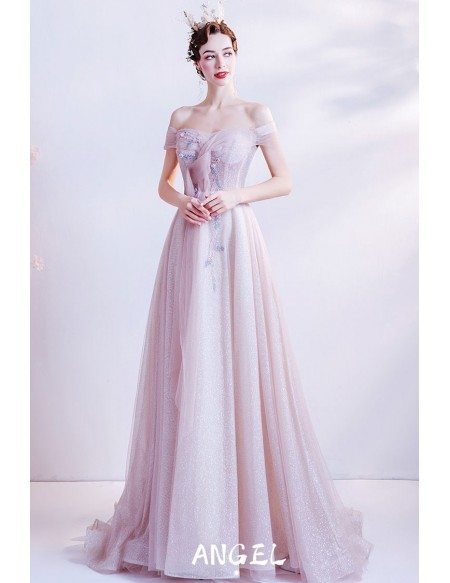 Cute Pink Bling Shinning Long Tulle Prom Dress Off Shoulder Straps