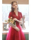 Modest Burgundy Tea Length Tulle Homecoming Party Dress with Short Sleeves