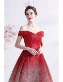 Bling Ombre Red Tulle Off Shoulder Party Dress with Pleated Neckline