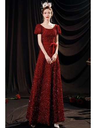 Burgundy Red Round Neck Formal Sequined Dress with Sash Short Sleeves