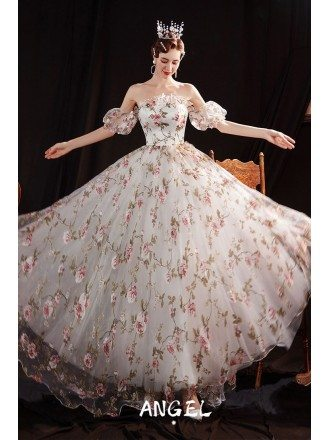 Romantic Floral Prints Lovely Party Dress with Straps