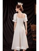 Vintage Simple Tea Length Party Dress with Pearl Buttons