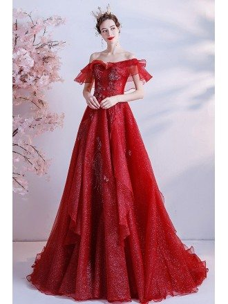 Unique Burgundy Ruffled Formal Prom Dress with Off Shoulder
