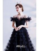 Noble Long Black Tulle Formal Prom Dress Pleated with Straps