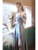 Gorgeous Blue Off Shoulder Split Front Party Dress For Parties