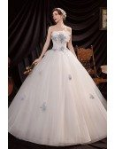 Princess Ballgown Strapless Wedding Dress with Blue Sequined Flowers