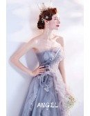 Grey Blue Ruffled Strapless Long Prom Dress For Parties