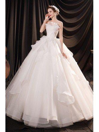 Beautiful Ruffled Ballgown Wedding Dress with Petals