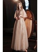 Gorgeous Champagne Gold Tulle Prom Dress with Sequins Puffy Sleeves
