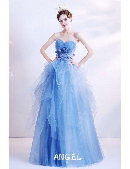 Beautiful Ruffled Blue Ballgown Prom Dress Strapless