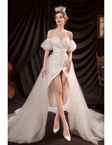 Removable Train High Low Wedding Reception Dress with Sweetheart