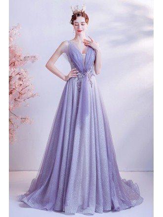 Purple Bling Tulle Elegant Prom Dress For Formal Parties
