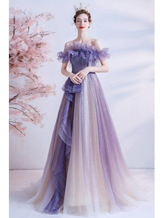 Ombre Bling Purple Tulle Prom Dress with Ruffled Neckline