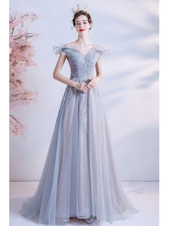 Elegant Grey Long Tulle Formal Prom Dress with Bling Pattern