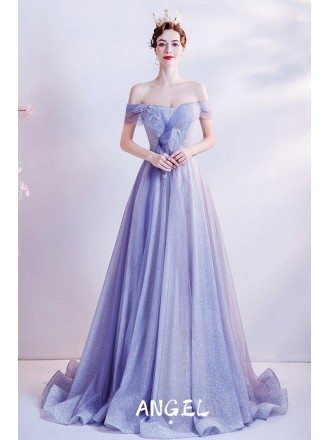 Purple Blue Off Shoulder Gorgeous Prom Dress with Bling