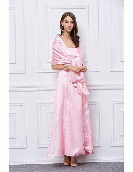 Feminine Pink Strapless Satin Long Evening Dress
