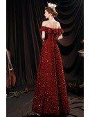 Burgundy Red Aline Long Formal Sequined Dress with Off Shoulder