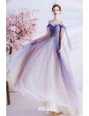 Fantasy Bling Purple Tulle Long Prom Dress with Strappy Straps