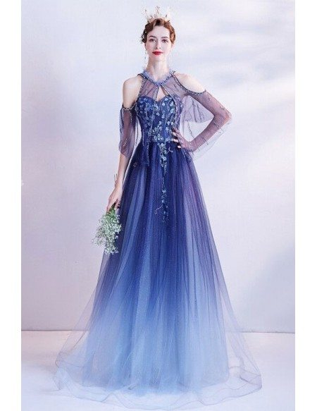 Dreamy Ombre Blue Flowy Long Tulle Prom Dress Sequined Cold Shoulder
