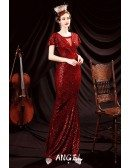 Slim Long Red Sequins Evening Party Dress with Sleeves