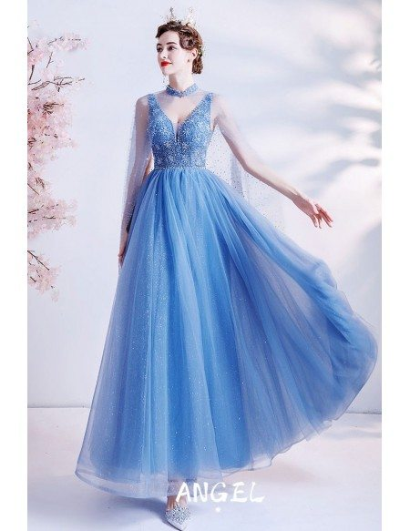 Bling Blue Tulle Unique Vneck Prom Dress with Cape