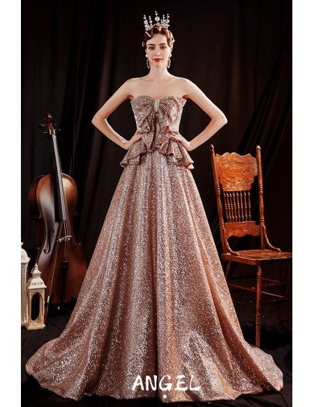 Luxe Coffee Gold Sparkly Formal Evening Dress with Ruffles