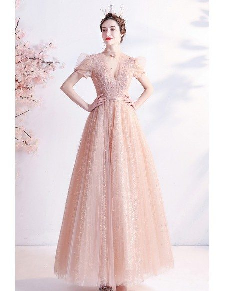 Romantic Pink Tea Length Party Dress with Bling Tulle Bubble Sleeves
