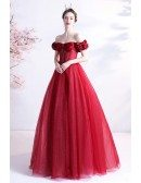 Red Bling Tulle Long Prom Dress with Beaded Off Shoulder