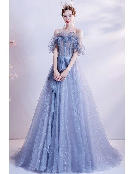 Noble Blue Bling Formal Prom Dress with Ruffles