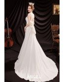 Simple Elegant White Formal Wedding Reception Dress with Big Bow