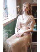 Classy Long Gold Sequins Evening Party Dress Vneck with Dolman Sleeves
