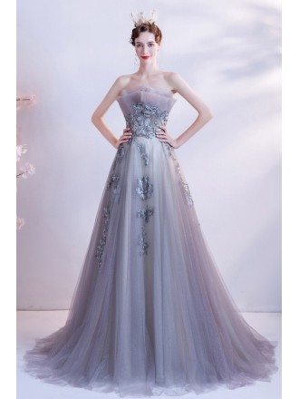 Dreamy Grey Bling Tulle Flowy Prom Dress with Embroidered Flowers