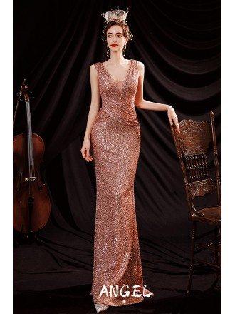 Slim Long Gold Sequins Evening Formal Dress Pleated Deep Vneck