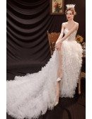 Sweetheart Romantic High Low Ruffled Wedding Dress with Train