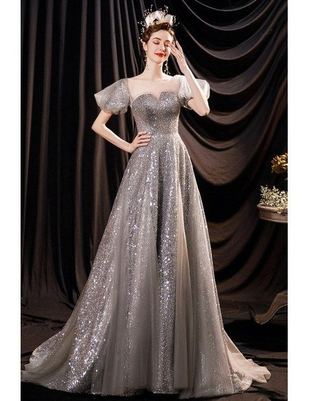 Bling Silver Sequins Stunning Evening Prom Dress with Bubble Sleeves