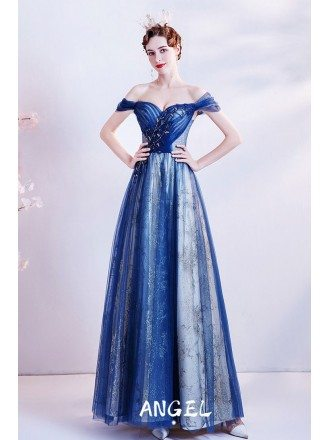 Gorgeous Off Shoulder Straps Blue Tulle Prom Dress with Beaded Pattern