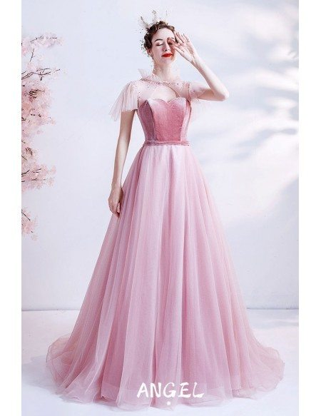 Long Pink Flowy Tulle Prom Dress with Velvet Bodice