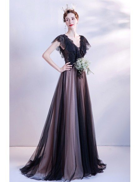 Elegant Long Black Tulle Vneck Lace Formal Dress with Cap Sleeves