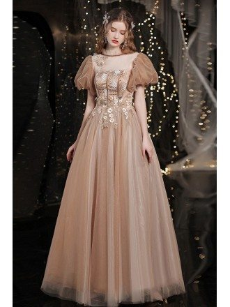 Retro Coffee Gold Tulle Prom Dress Bubble Sleeved with Flowers
