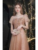 Fairytale Gold Bling Sequins Party Prom Dress with Cute Bubble Sleeves