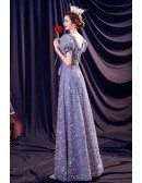 Lovely Sequined Blue Bling Formal Dress with Bubble Sleeves