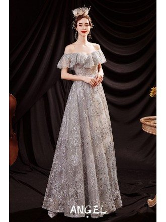 Silver Bling Bling Aline Prom Dress with Off Shoulder