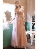 Fairy Cute Pink Tulle Long Prom Dress with Appliques 3/4 Sleeves