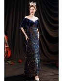 Blue Puffy Sleeves Sequined Long Party Dress with Illusion Neckline