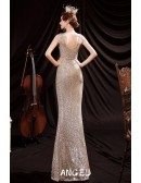 Luxe Champagne Gold Sequined Mermaid Formal Dress with Deep Vneck