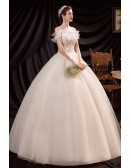 Beaded Lace Ballgown Wedding Dress with Ruffled Neckline