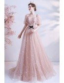 Cute Pink Bling Stars Sweetheart Prom Dress with Bubble Sleeves