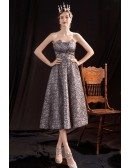 Silver Striped Pattern Tea Length Party Dress Strapless