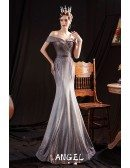Bling Sparkly Mermaid Formal Evening Dress with Off Shoulder